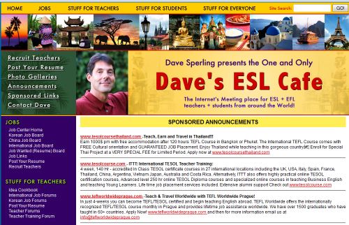 Daves ESL Cafe Esl teaching jobs, Teaching english, Teaching