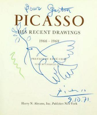 【原宿】パブロ・ピカソ「青い鳩」自筆サインと下に年代入り色鉛筆デッサン画!☆⑦☆【原宿ブログ】