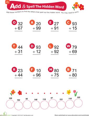 Add Spell The Hidden Word 1 Worksheet Education Com 2nd Grade Math Worksheets Math Worksheet Education Com