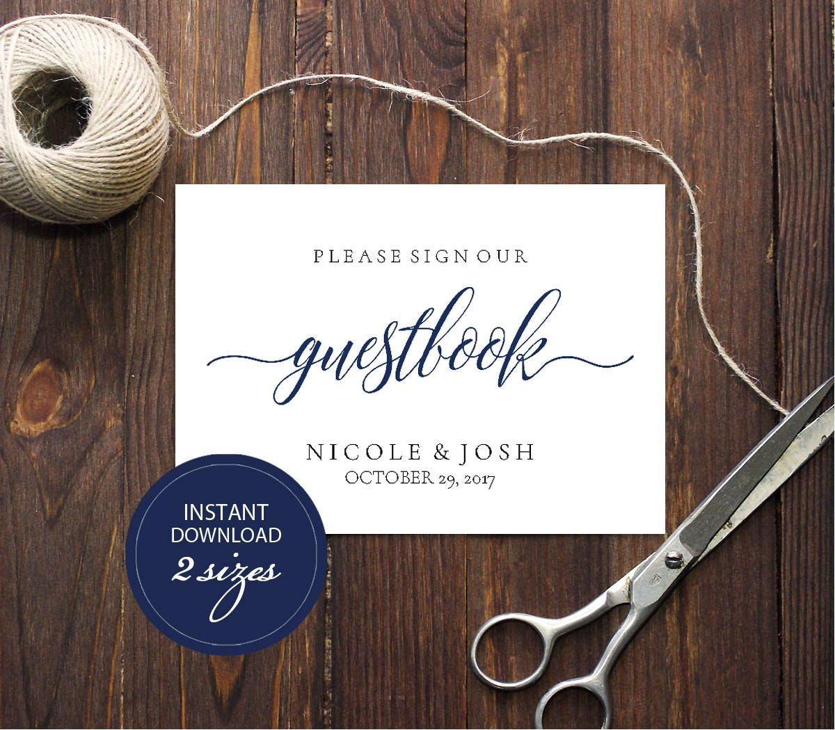 Editable PDF Guestbook Sign Navy Calligraphic Wedding ...