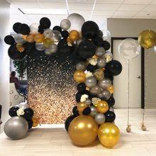 1set Ballon Girlande Geburtstagsfeier Dekoration Kinder Erwachsene Schwarz / Weiß / Gold Latex Luftballons Hochzeit Baby Shower Party Ballon Arch