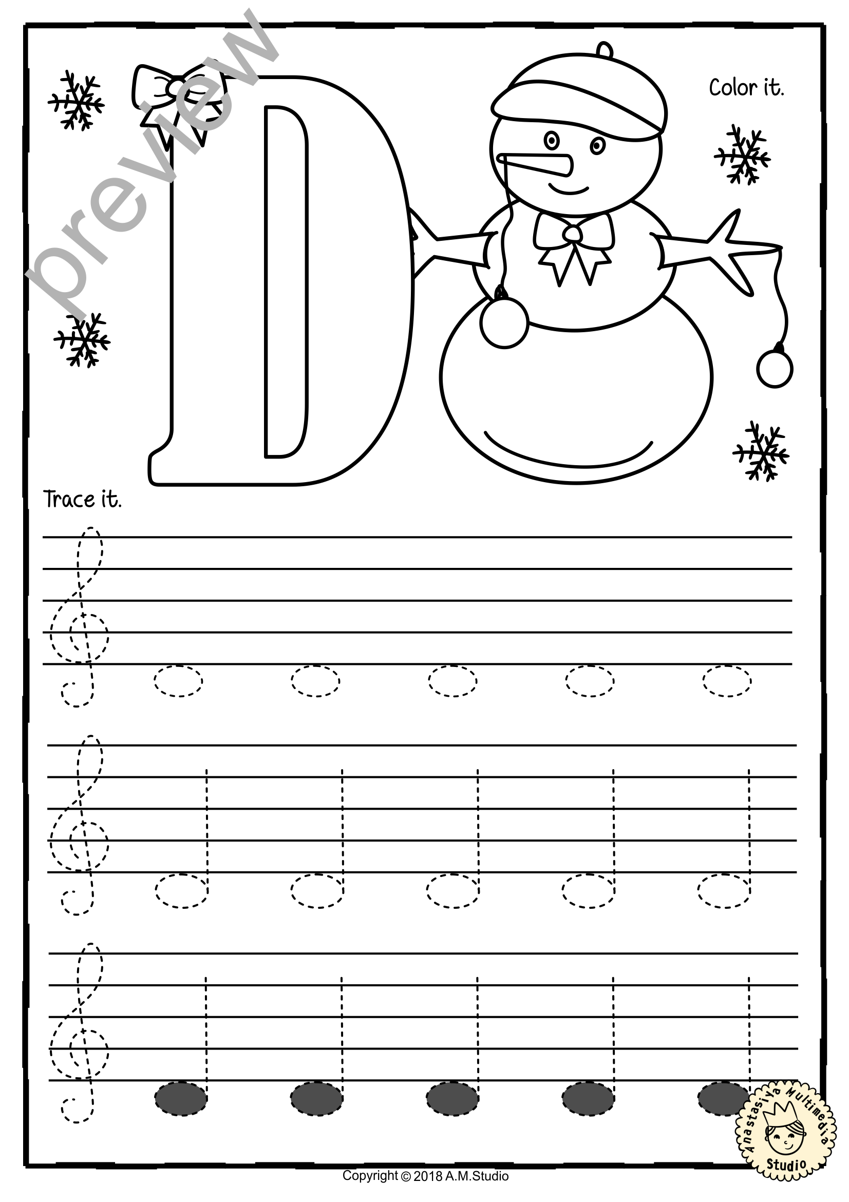 Treble Clef Tracing Music Notes Worksheets For Winter And Christmas