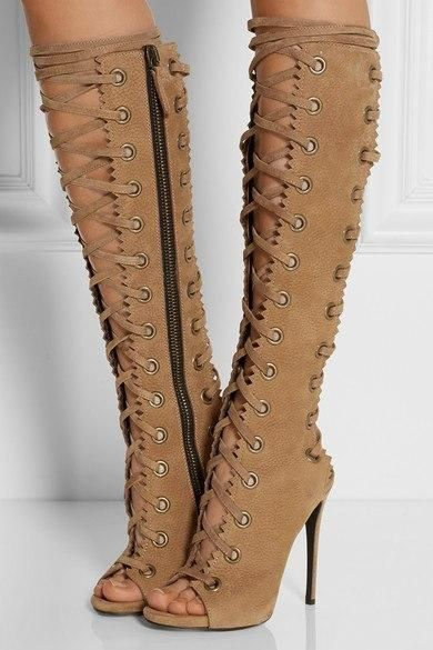 adf9e800d7f1 2017 Top Sell Wedding Party Dress Shoes Women Peep Toe High Heel Botas  Mujer Cut-outs knee High Boot Lace Up Gladiator Boots