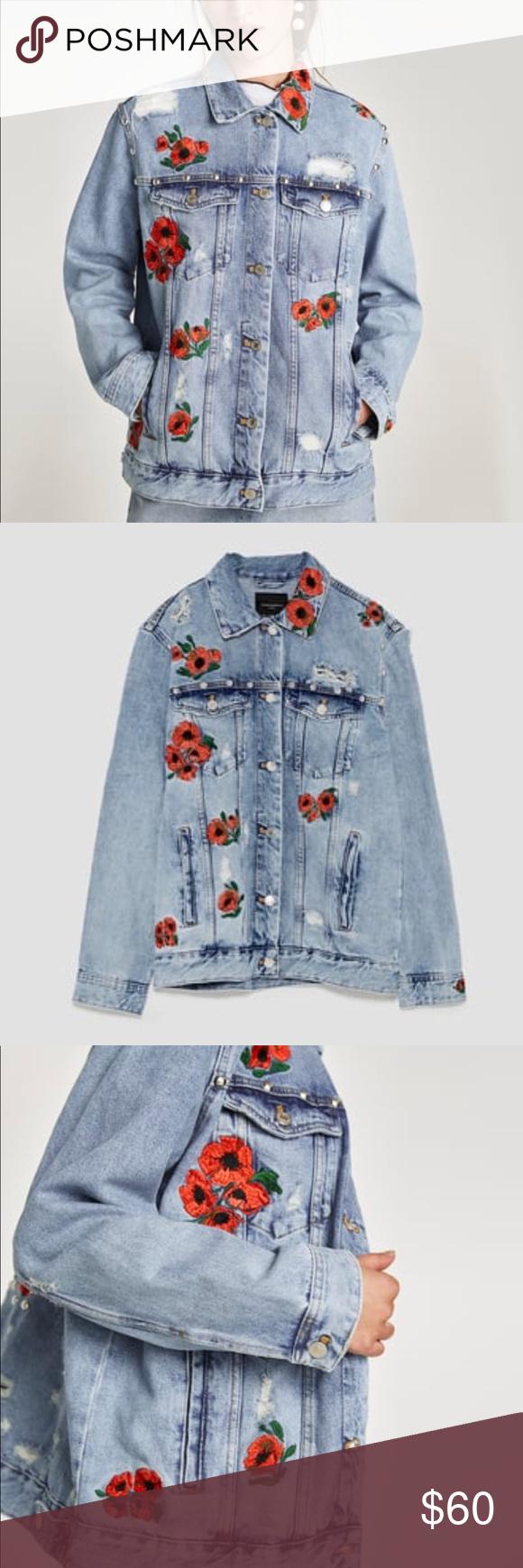 Zara Trf Floral Embroidered Denim Jean Jacket Embroidered Denim Embellished Denim Embroidered Denim Jacket [ 1740 x 580 Pixel ]