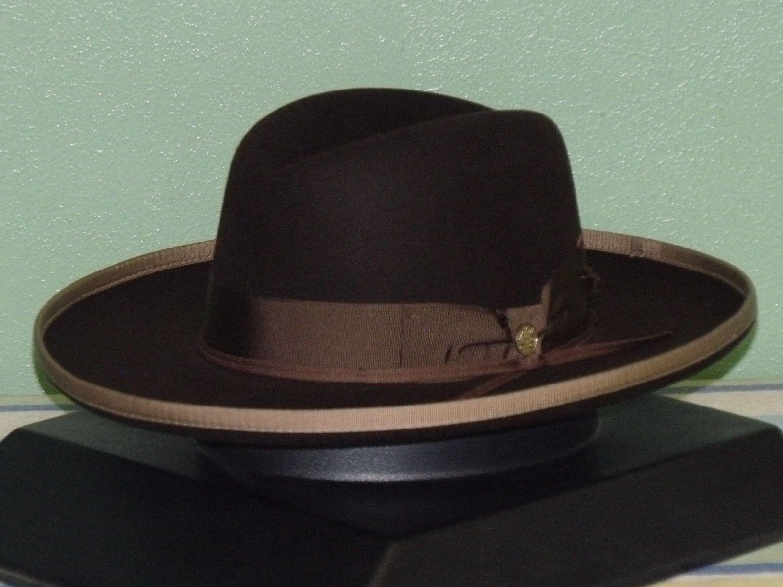 Stetson west bound b rolled brim royal deluxe fur felt fedora hat ... 9c027dbbddb