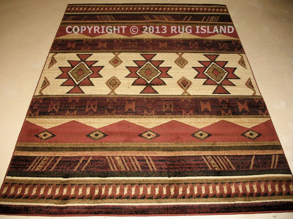 Southwestern Tribal Western Lodge Cabin Rust Area Rug Free