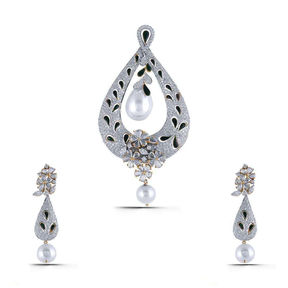 Enriqua queen diamond gold pendant set sps
