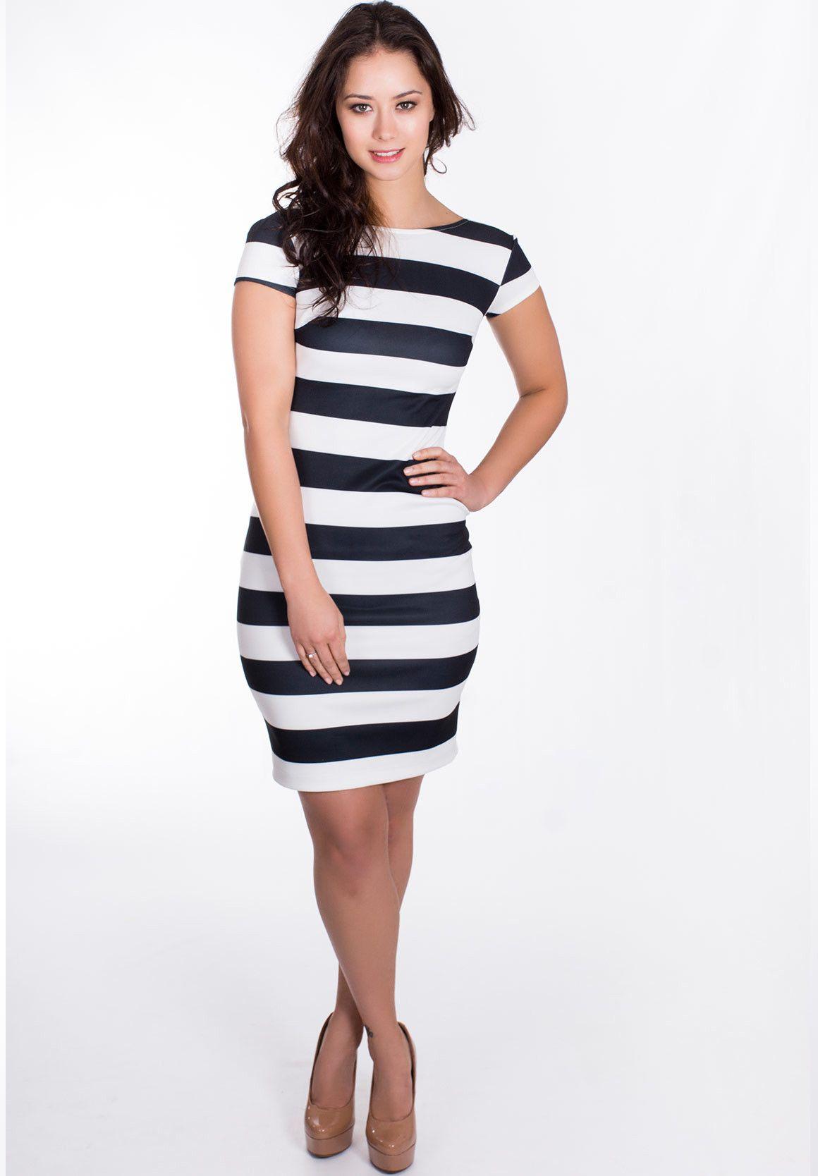 Big black and white striped bodycon dress curtains the elizabethan era