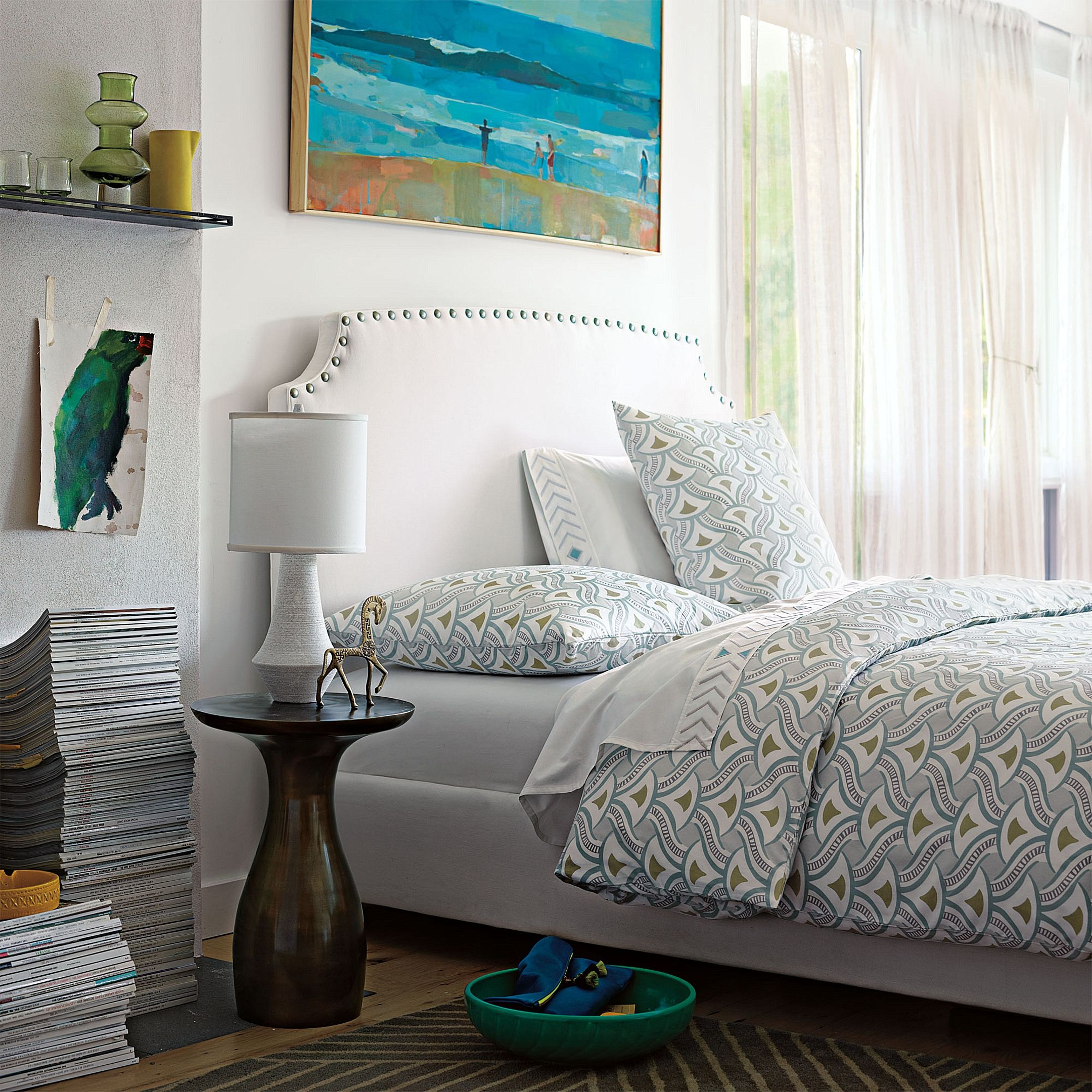 Custom Upholstered Fillmore Bed with Nailheads in Designer Fabrics | Serena & Lily