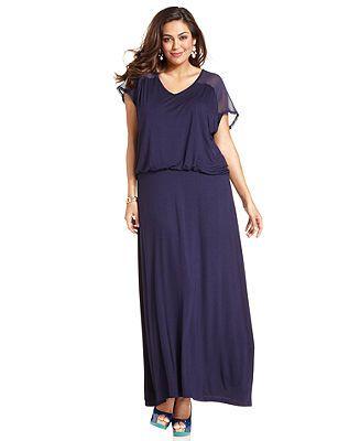 design 365 plus size dress, short-sleeve blouson-waist maxi - plus