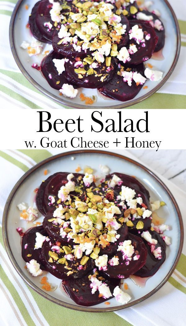 Cold Beet Salad w. Goat Cheese, Honey, + Pistachio