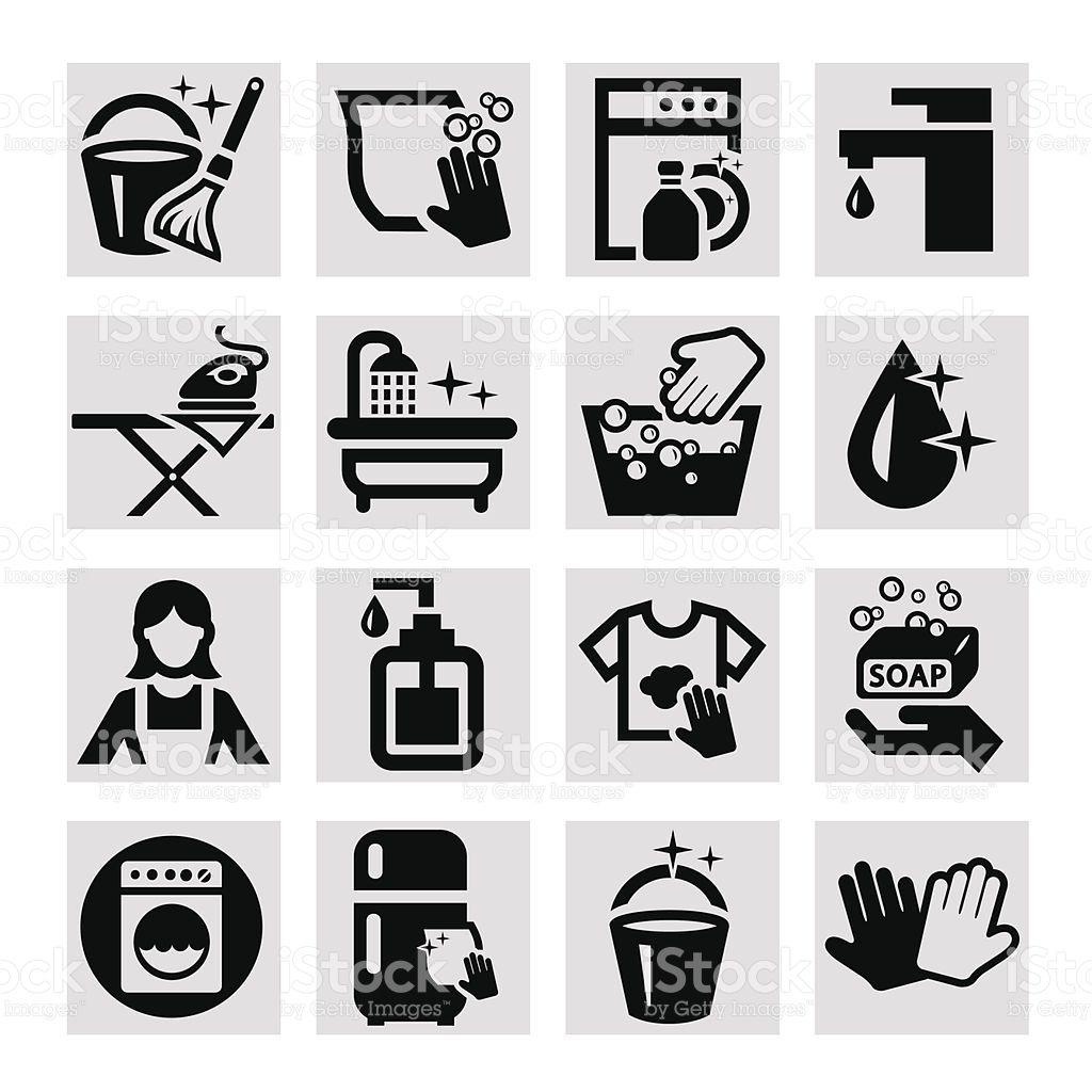 Elegant Vector Black Cleaning Icons Set