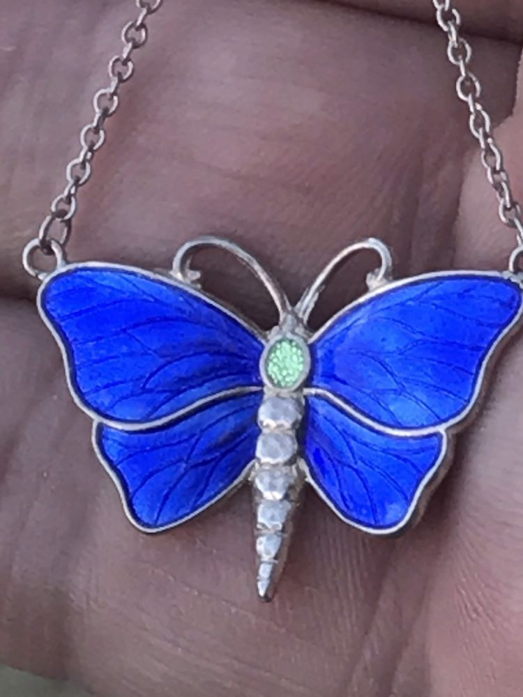 Nouveau Silver Charles Horner C.H Enamel Butterfly Insect Pendant Necklace
