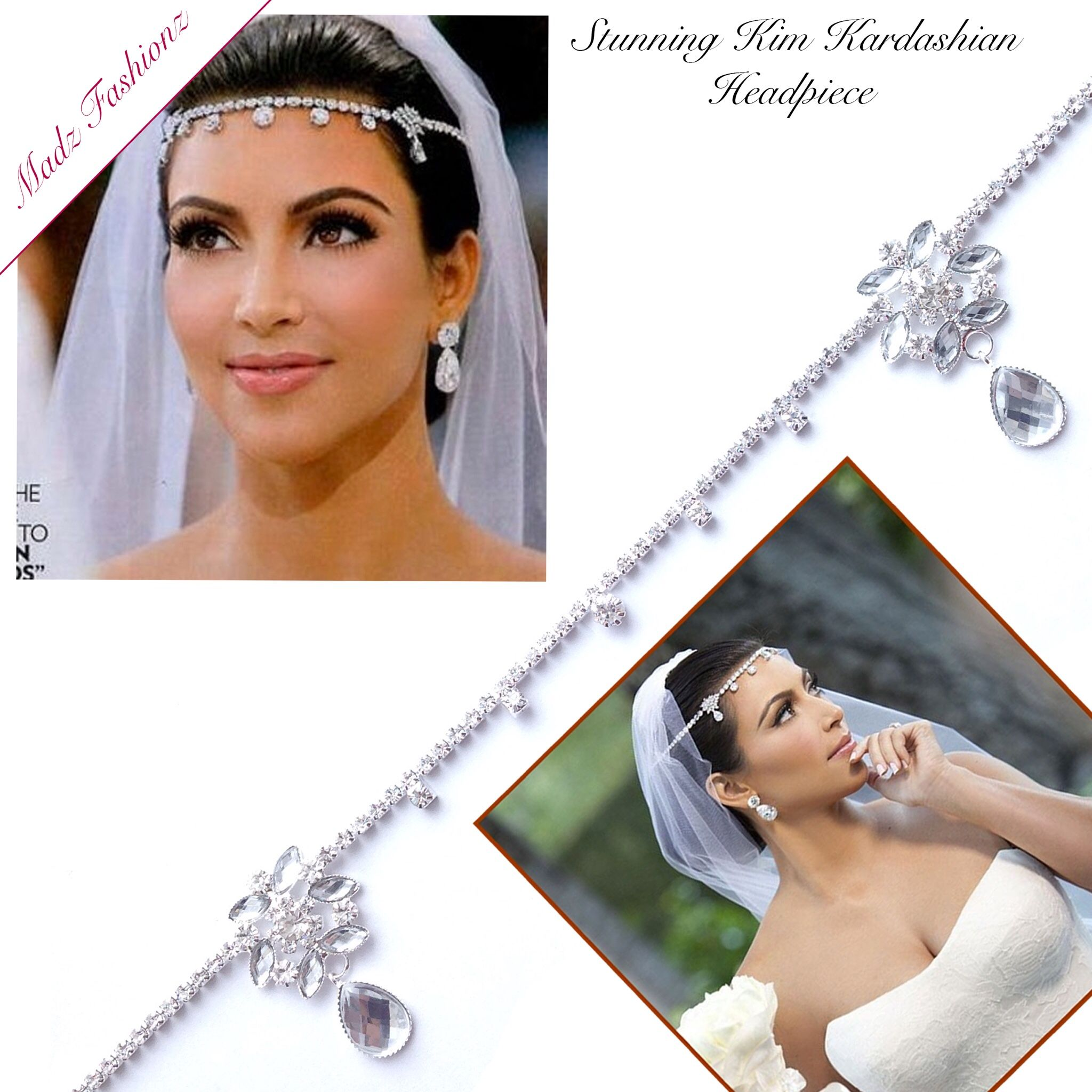 Kim Kardashian Inspired Wedding Bridal Headpiece Headband | Kim ...
