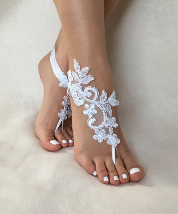 Bridesmaid Gifts Beach Wedding: White Lace Barefoot Sandals, FREE SHIP, Beach Wedding