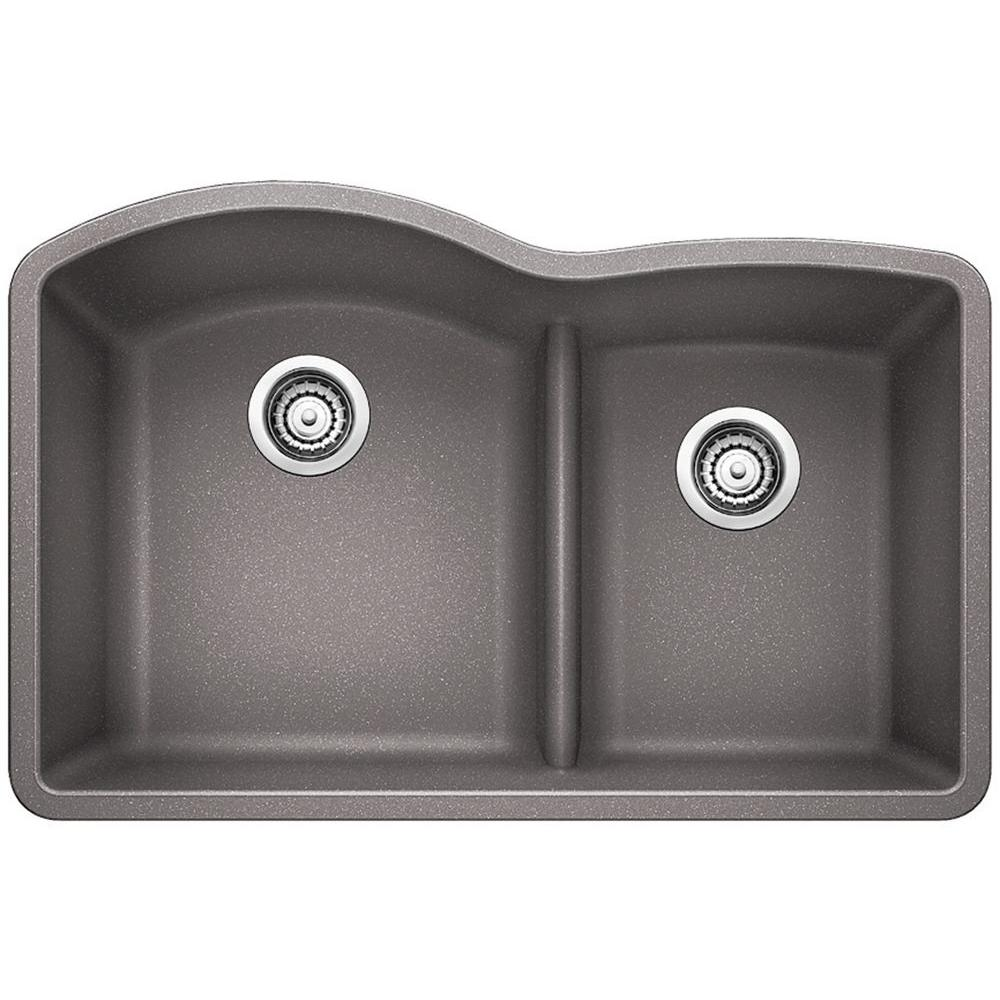 Blanco Diamond Undermount Granite Composite 32 In 60 40 Double Bowl Kitchen Sink With Low Divide In Metallic Gray 441592 The Home Depot Undermount Kitchen Sinks Double Bowl Kitchen Sink Double Basin Kitchen Sink