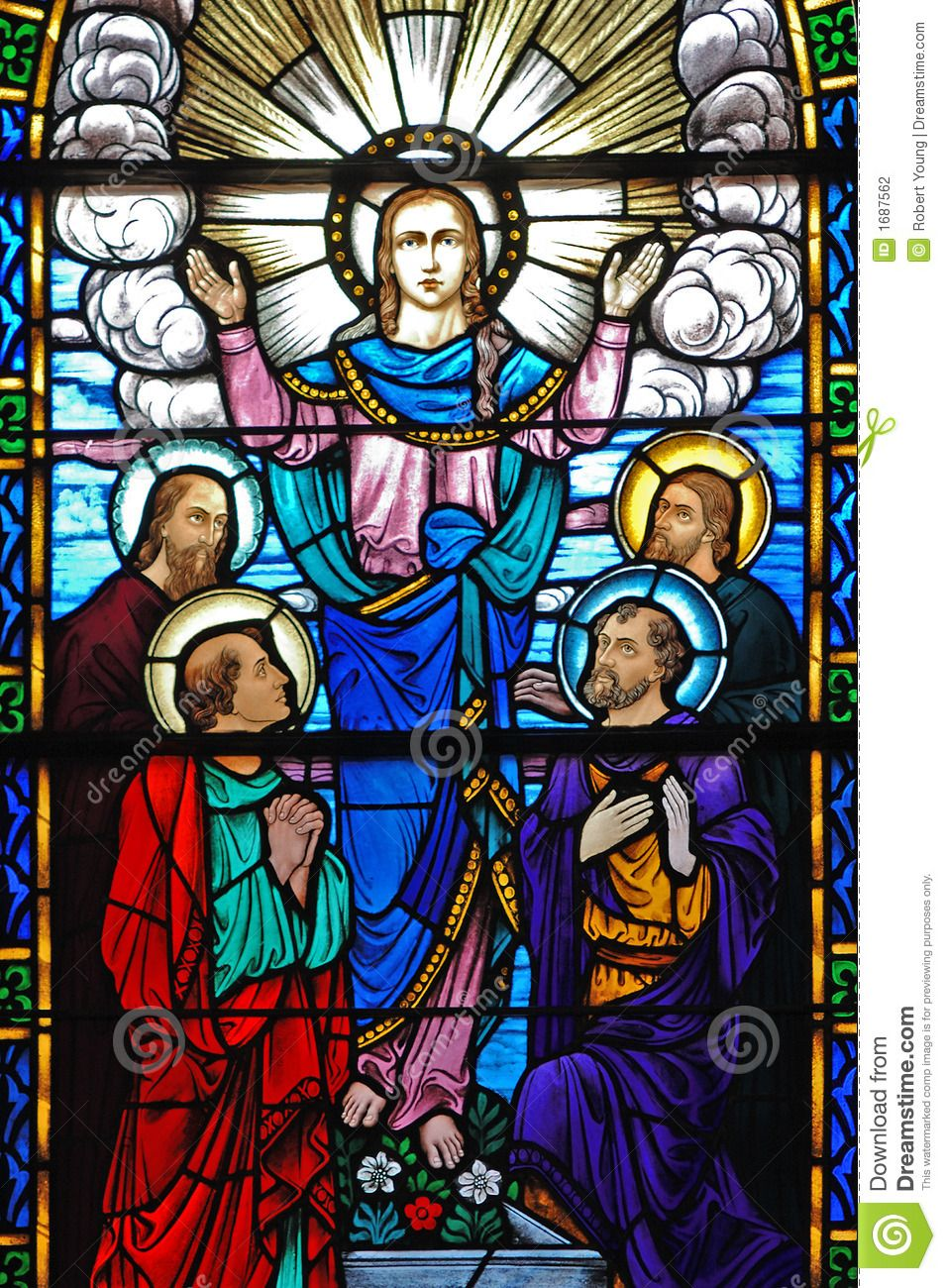 stained glass window christ his disciples pint