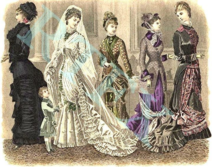 1880 Bridal Part Colour Fashion Plate Blank Note Card Handmade Victorian 41880a by RTFX on Etsy