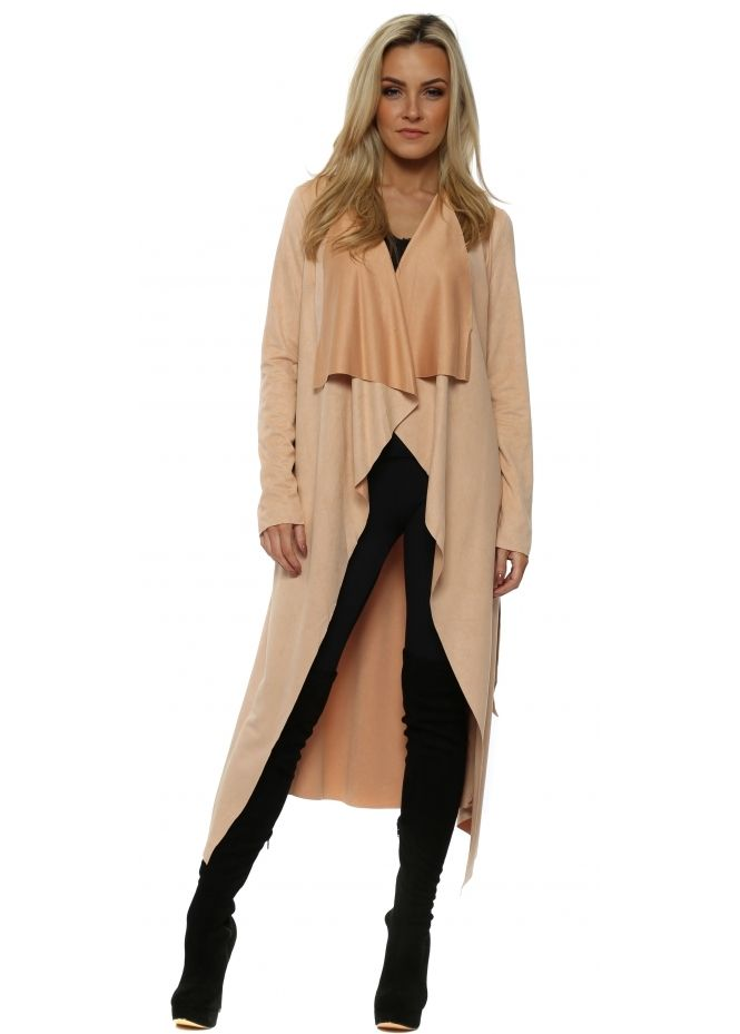 540659ffe4f FRENCH BOUTIQUE Nude Faux Suede Waterfall Belted Coat | clothes ...