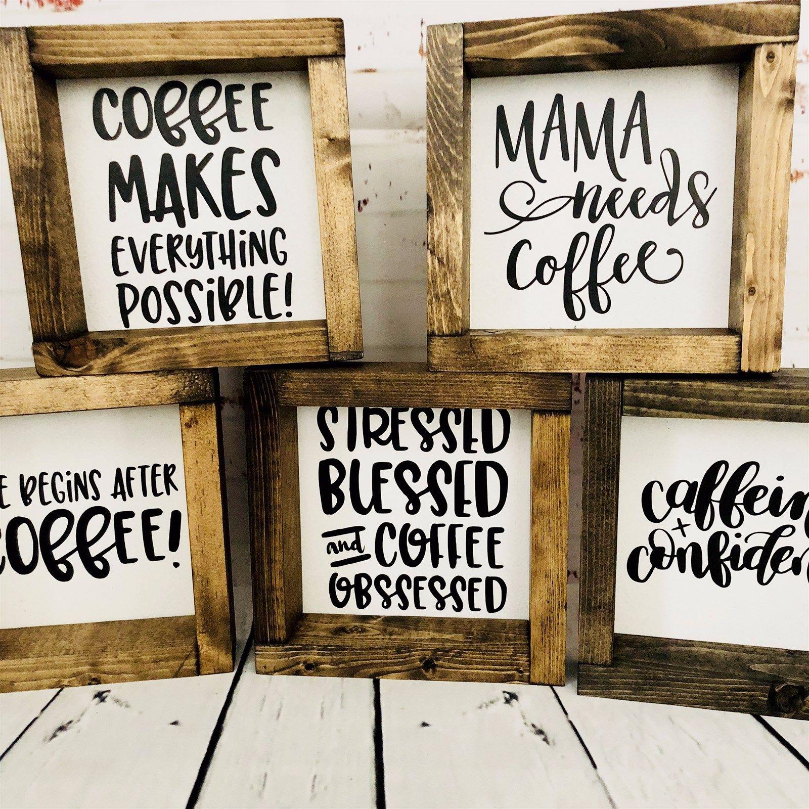 Handmade Wood Coffee Inspired Signs Coffee Bar Signs