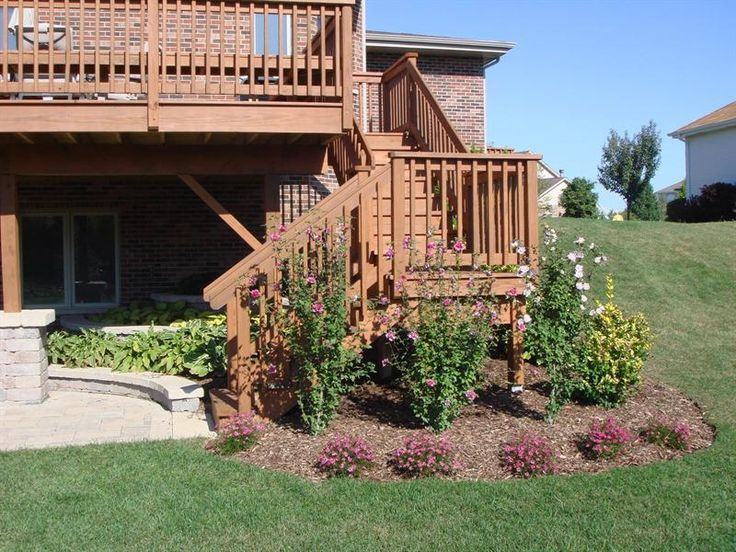 Walkout deck with patio underneath creative stair for Deck ideas above walkout basement