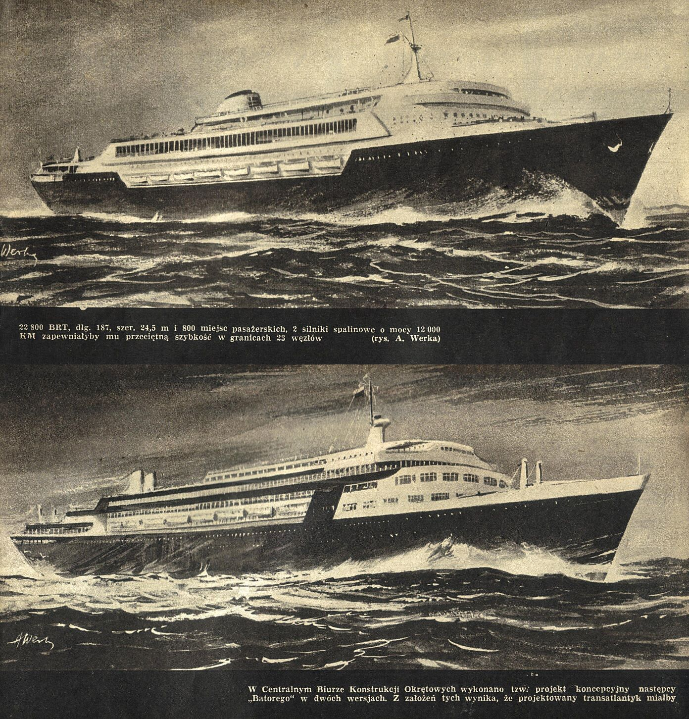 Early Design Unbuilt Liner . Polonia C1961