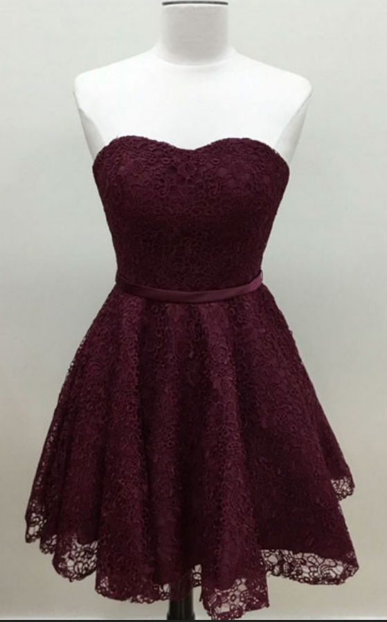 182051ce0a Sweetheart Burgundy Lace Homecoming Dress
