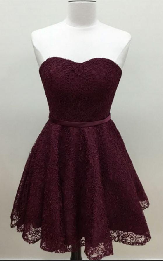 Sweetheart Burgundy Lace Homecoming Dress,Short Prom Dress