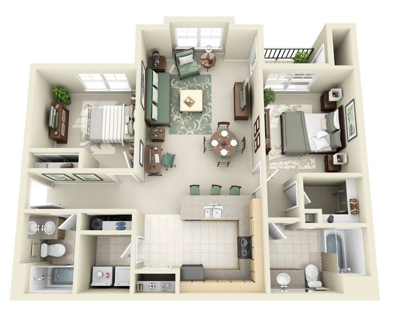 Two Bedroom Apartments Are Ideal For Couples And Small Families Alike As One Of The Most Common Types Of Homes Or Apartment Layout 3d House Plans House Plans