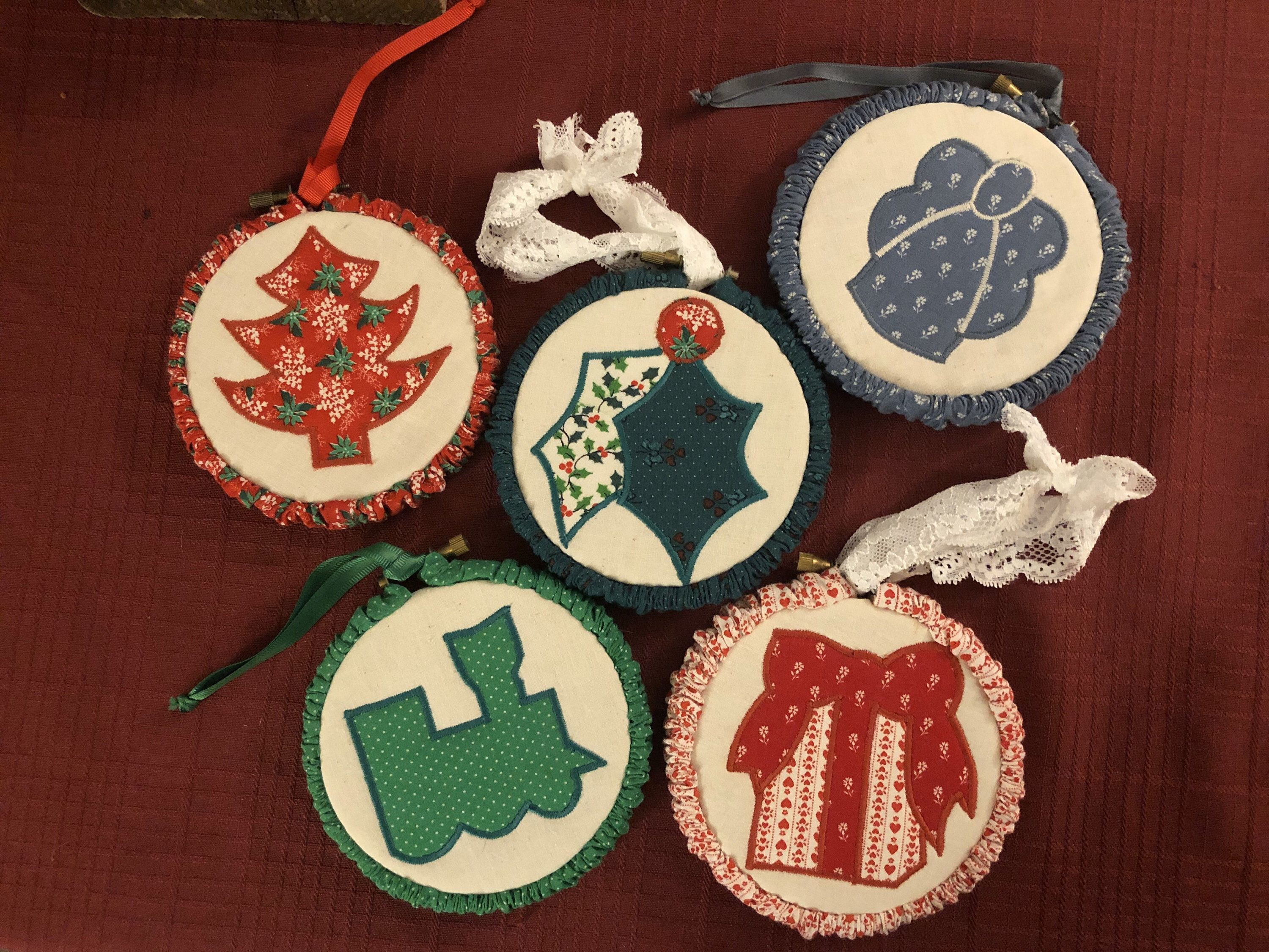 In my #etsy shop: %Vintage #ChristmasQuiltBlock #Ornaments Machine Embroidered Framed Bamboo Embroidery Rings 1980's #Train #Holly #Tree #Angel %Gift Gathered Trim #merrychristmas #merrychristmas2019 #happyholidays #happyholidays2019 #homedecor #1980s #embroidered #handmade