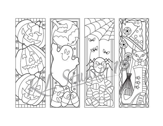 Halloween- Coloring Bookmarks Page, Instant Download, Relax