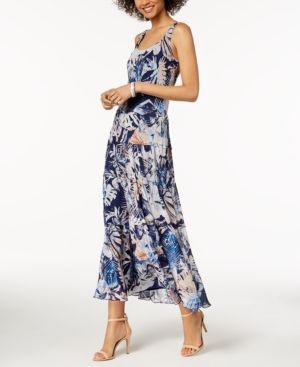 c7d471023d Nine West Floral Tiered Maxi Dress - Blue 8