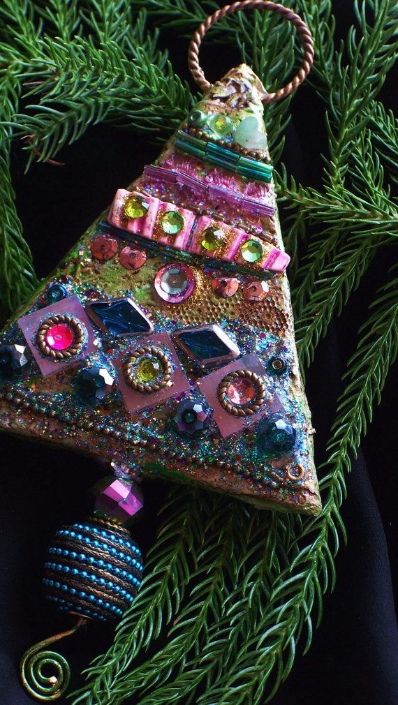 Fantastic Mixed Media Christmas Ornament by bluemoose on Etsy, $35.00