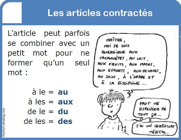 articles contractes this french language exercises