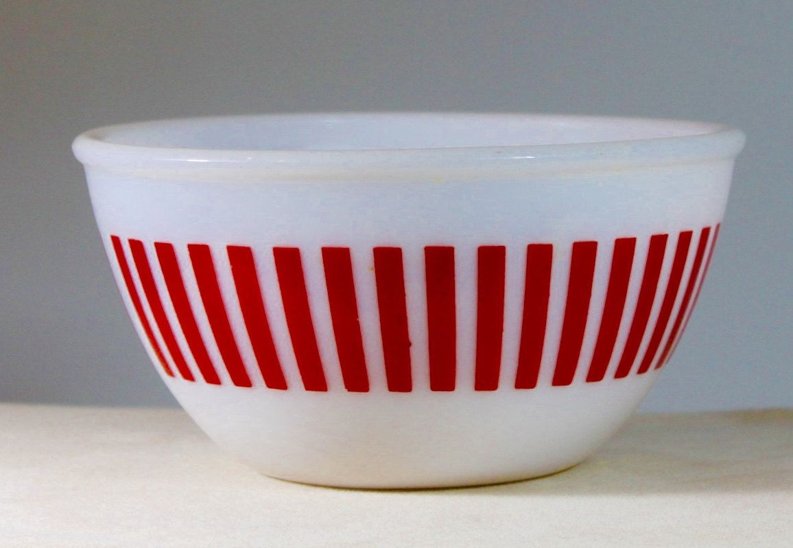 Hazel Atlas Red Vertical Striped Bowl by HauteVintageMarket on Etsy