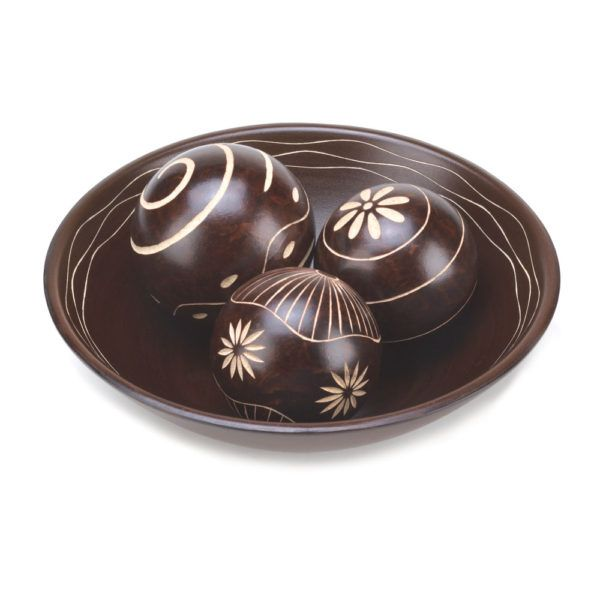 Decorative Bowl With Balls Carved Decorative Bowl And Ball Accents  Home Decor Accents