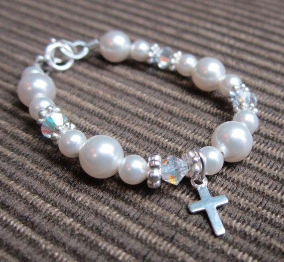 Baby Bracelet with Swarovski White Pearls and Clear Crystals with Cross Charm