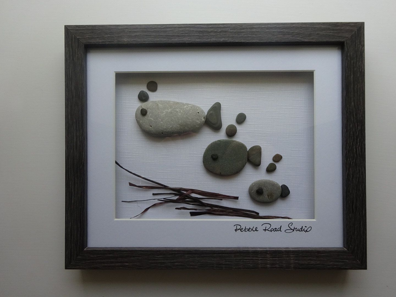 Fish Family Pebble Art Gift Custom