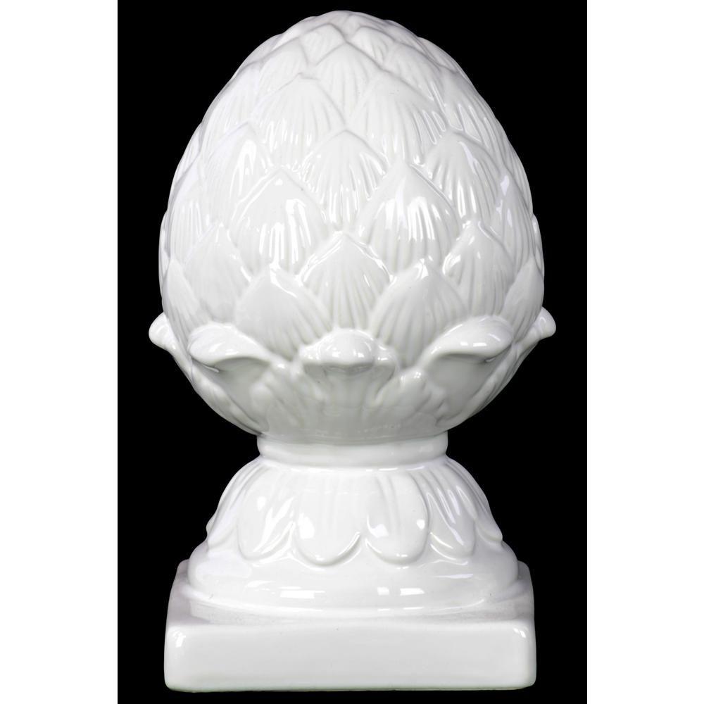 Gloss White Urban Trends Ceramic Artichoke Figurine