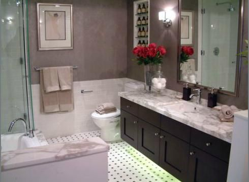 Espresso shaker vanity marble counter top and floor for Espresso bathroom ideas