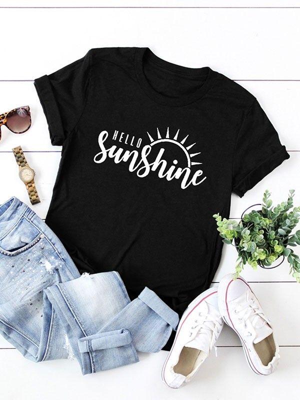 56a130de1 Dresswel Women Hello Sunshine Letter Print Graphic T-shirt Tops $12.99 # dresswel #women