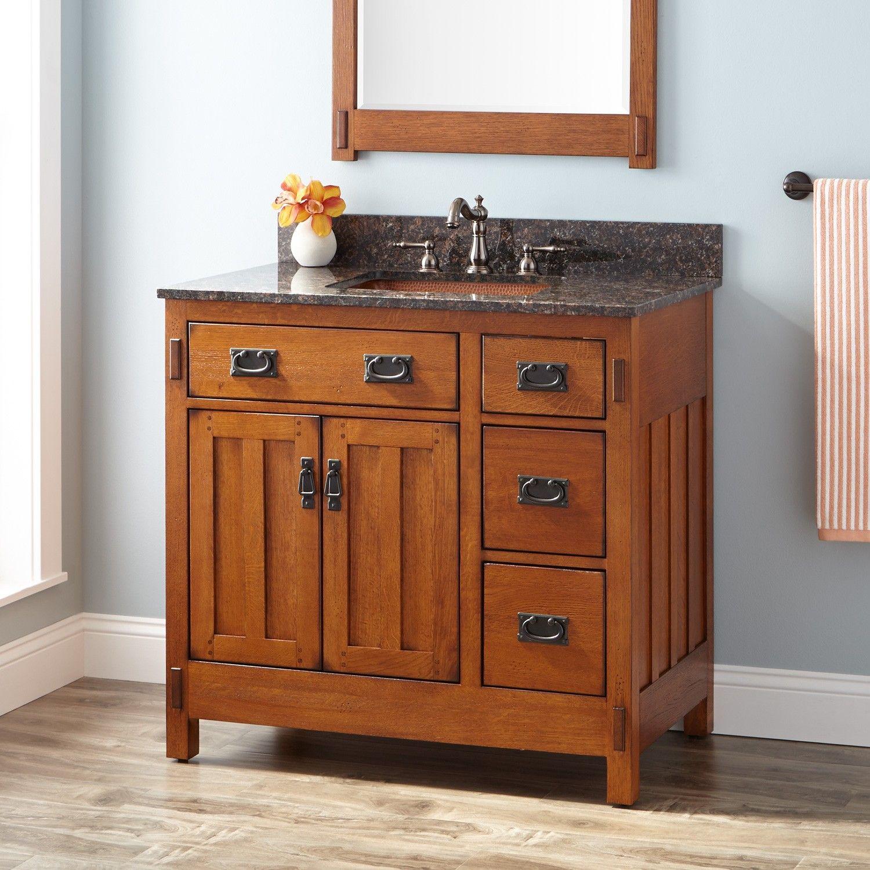 36 American Craftsman Vanity For Left Offset Rectangular Undermount Sink Autumn Wheat In 2021 Oak Bathroom Vanity Vessel Sink Vanity Craftsman Style Bathrooms