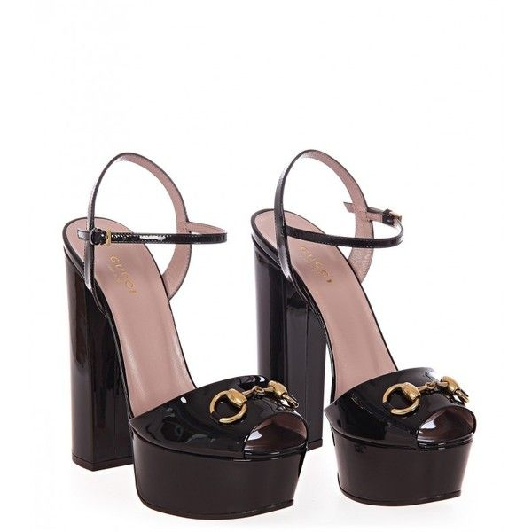 db78243c5953 Gucci Black Patent Leather Platform Sandals (850 CAD) ❤ liked on Polyvore  featuring shoes