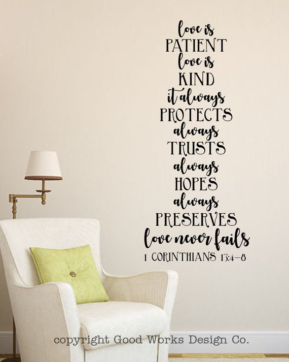 Love Is Patient Love Is Kind Love Never Fails 1 Corinthians 13 Christian Wall Sticker Love Is Wall Decal Bible Verse Wall Quote Bible Verse Wall Quote Wall Stickers Love Love Is Patient