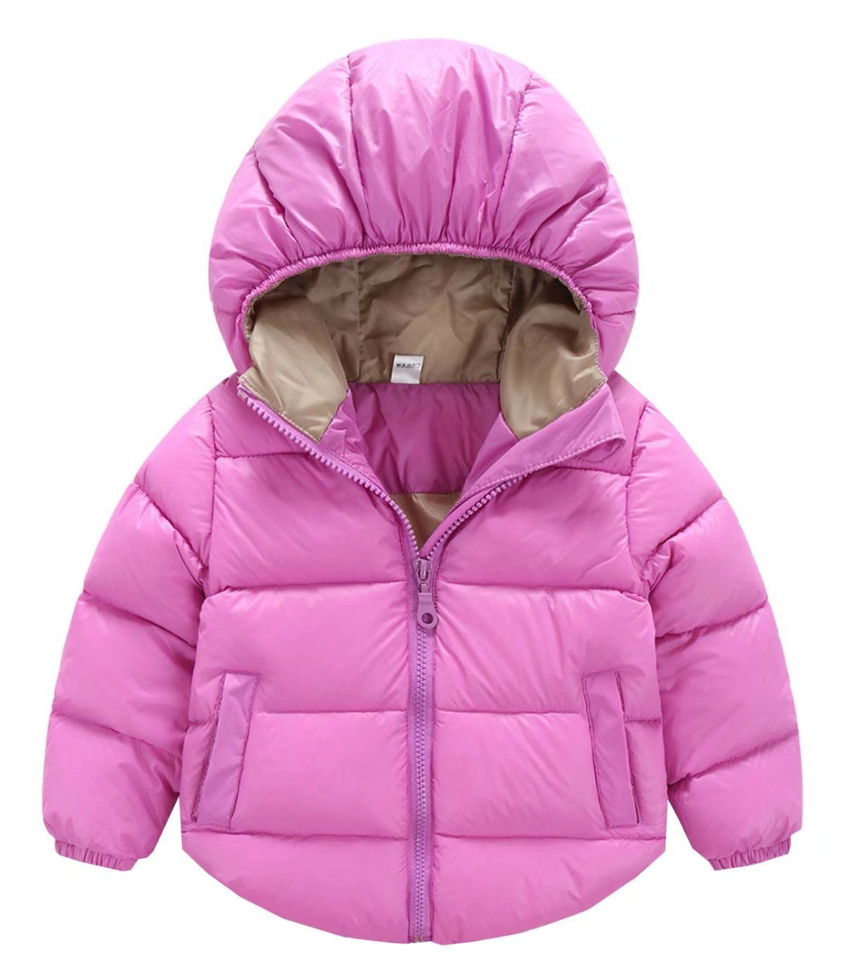 Toddler Baby Girls Boys Winter Warm Hoodie Snowsuit Solid Down Jacket Coat Outerwear Outfits Set Clothes