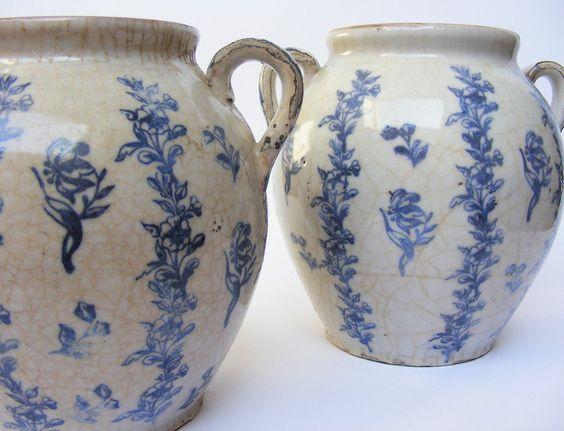 Antique French Earthenware Saint Uze Confit Pots Late 19th Century French Antiques Antiques Blue Transferware