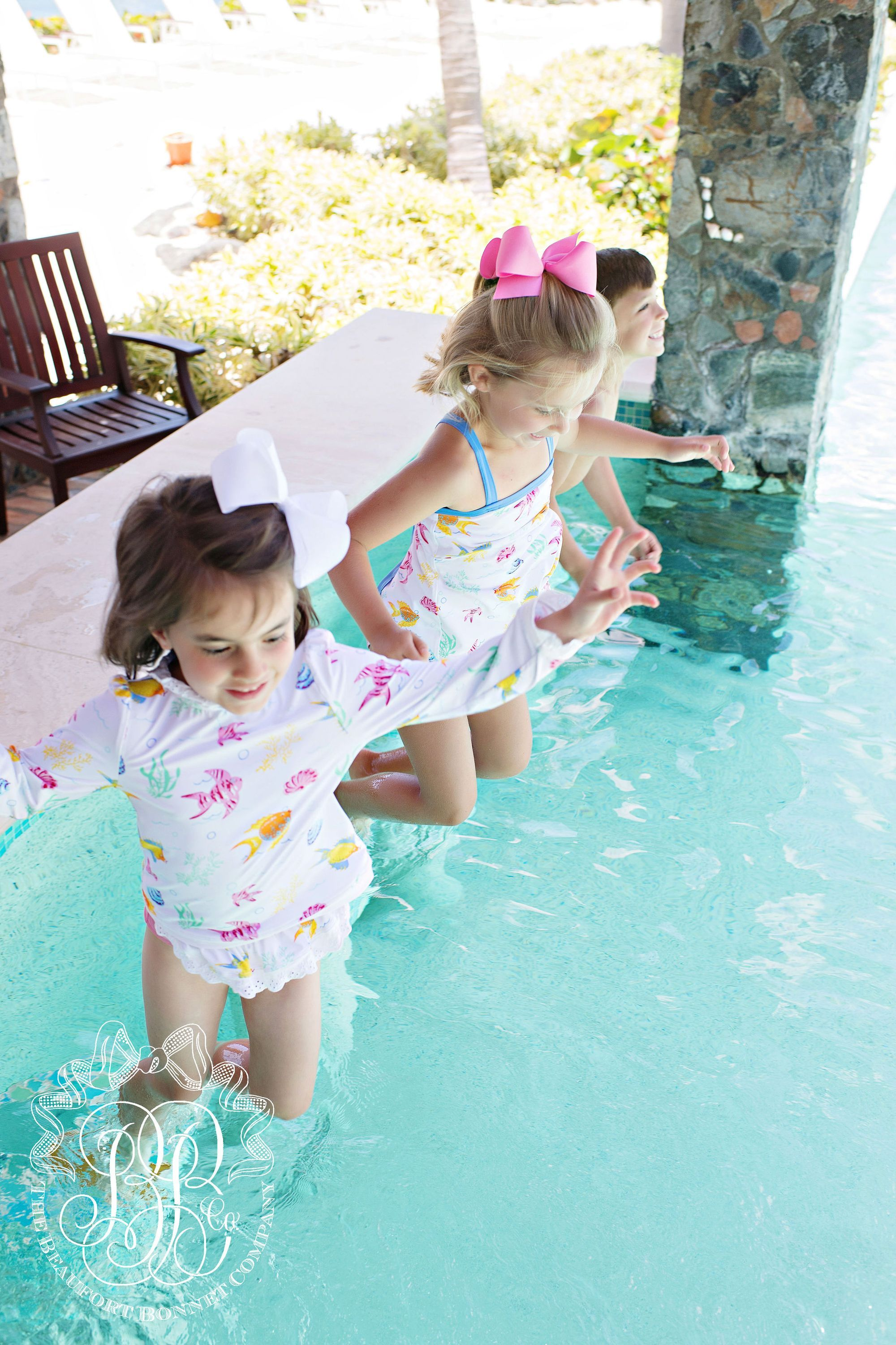 8afbf56389b92 Sanctuary Scallop Swimsuit - Fripp Fishies with Barbados Blue - The  Beaufort Bonnet Company