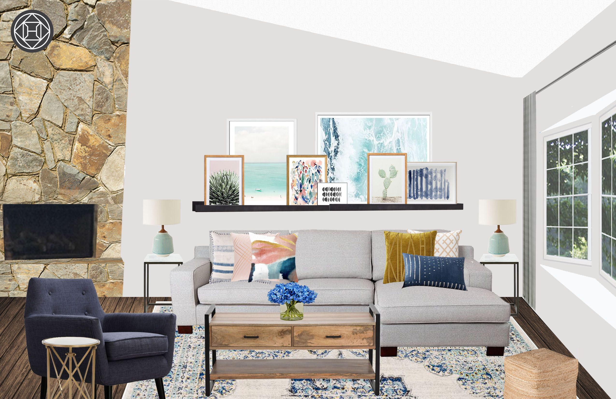 Contemporary, Eclectic, Bohemian, Glam Living Room By Havenly