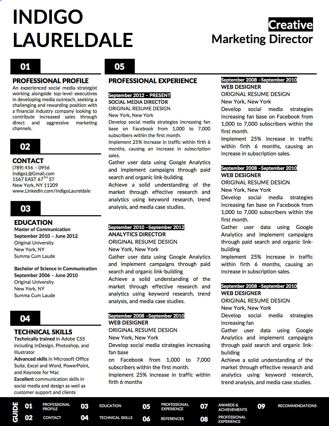 Indigo lauderdale resume 2page resume template for