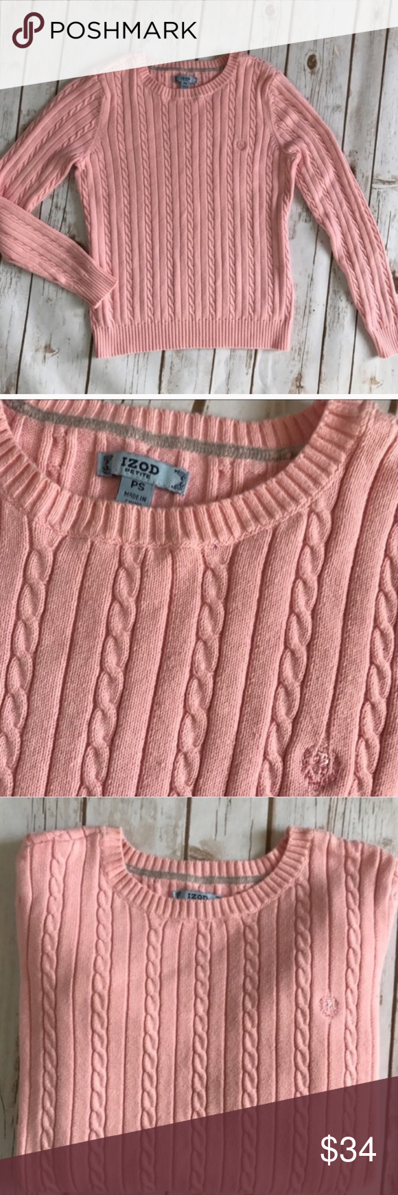 IZOD CLASSIC CABLE KNIT SWEATER IN BLUSH PINK IZOD CABLE KNIT ...